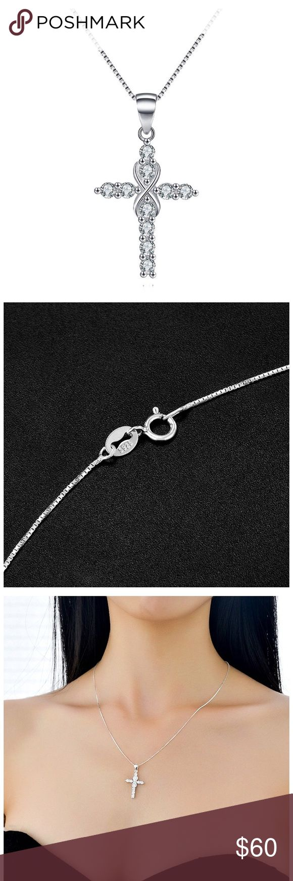 Infinity Cross Diamond Necklace The Infinity Cross Necklace size: Pendant size: Chain length: 45cm. The Infinity Cross Necklace Cubic Zirconia Diamond Religious Jewelry Pendant Charm Necklace Metal type: 925 sterling silver. Metal stamp: 925. The Infinity Cross Necklace Cubic Zirconia Diamond Religious Jewelry Pendant Charm Necklace Material: Cubic Zirconia CZ Diamond. Jewelry Necklaces
