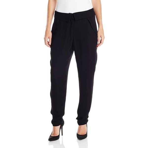 Greylin Women's Tribeca Pant ($21) ❤ liked on Polyvore featuring pants, greylin, fold pants, tapered pants, tapered trousers and foldover pants