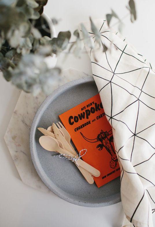 Marble Hexagonal Trivet + Concrete tray in Natural + White Traveller Tea-Towel / The Depot & Co.