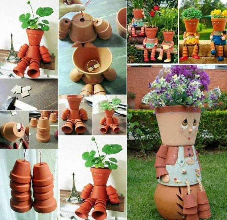 Figuren für den Garten aus Tontöpfen gebastelt