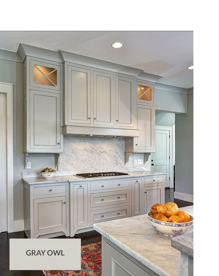 awesome design owl kitchen decor. Gray Owl by Benjamin Moore on cabinets and wall  Love it looks gorgeous with the marble Pick a Paint Color Pinterest moore
