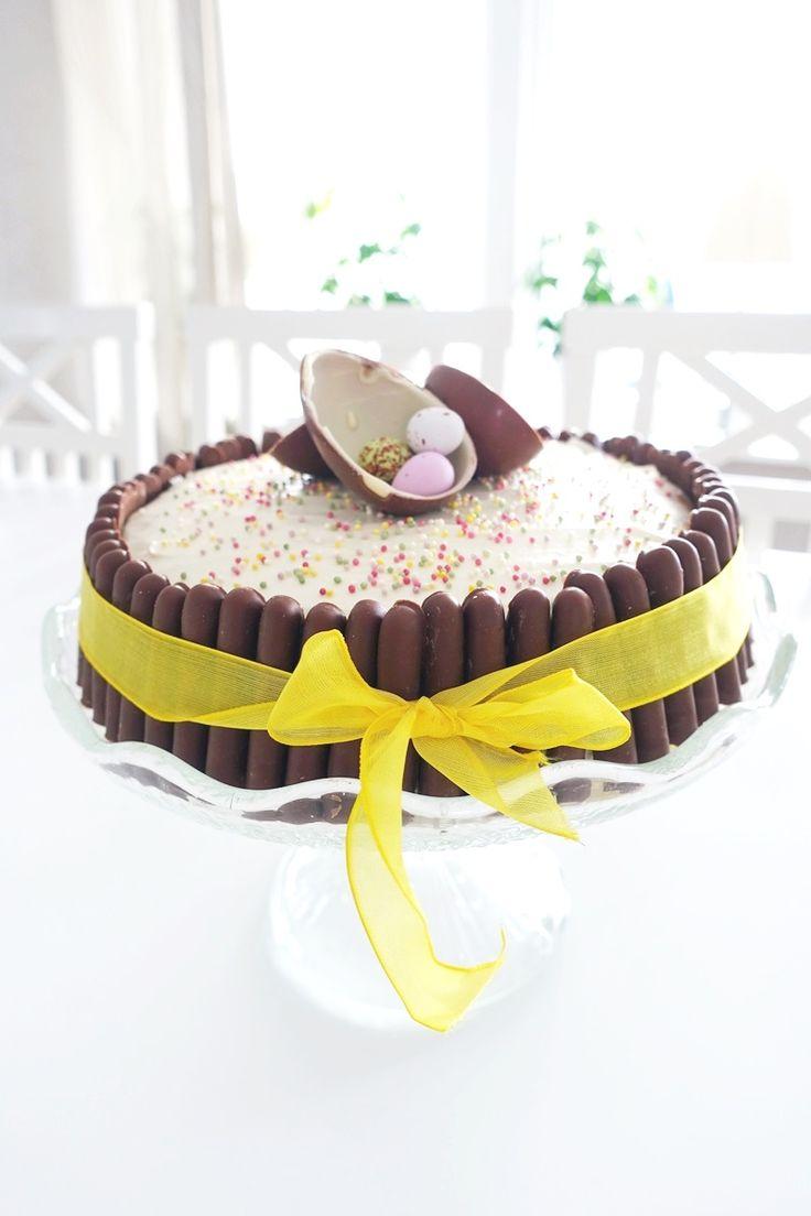 Jag är verkligen ingen tårtspecialist så den här tårtan blev jag faktiskt nöjd med! Jag håller på att testa mig fram till bra fyllningar, den här gången testadejag med smakerna banan och choklad eftersom det är väldigt gott ihop. Ingredienser Bananfyllning 2 msk marsanpulver 2 dl grädde 1