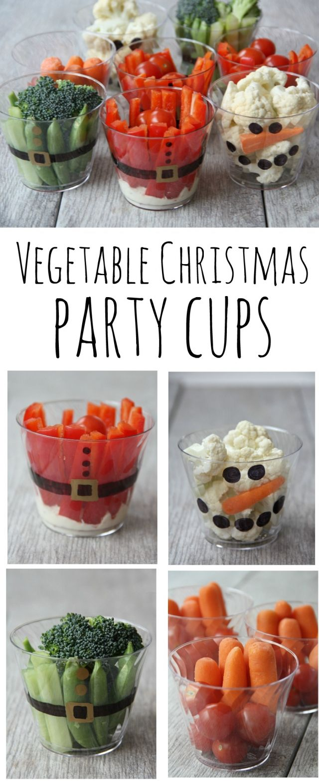 Healthy vegetable Christmas party cups. A fun Christmas party food that isn't sugary. @mychinet #ad