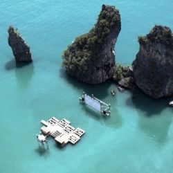 This stunning movie theater was built in the middle of the Nai of Pi Lae lagoon.