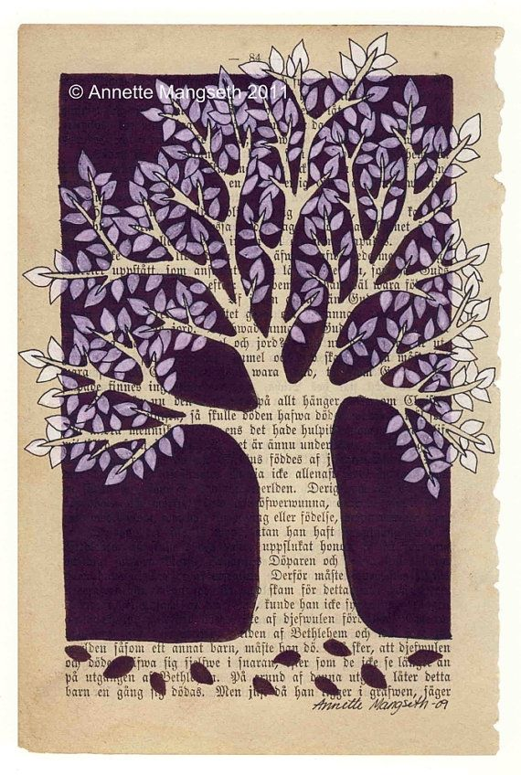 """Purple Tree"" by carambatack; pencil, ink, and marker on 1892 book page; 18x25 cm print $25"