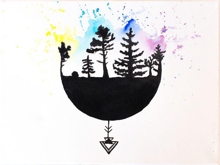 nature forest acril art paint