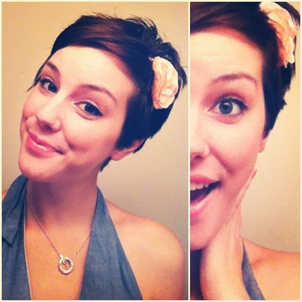Maddie- short hair with flower headband