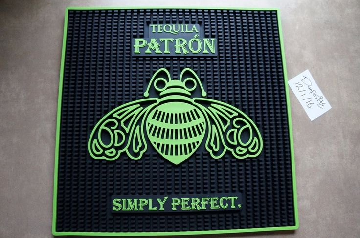 "TEQUILA PATRON SIMPLY PERFECT 17"" X 17"" RUBBER BAR MAT NEW 