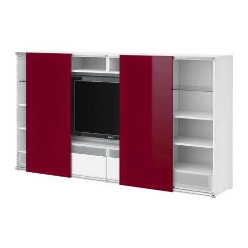 besta wohnzimmer ideen:BESTÅ/INREDA TV-/Aufbkomb. mit Schiebetüren – weiß/Hochglanz rot