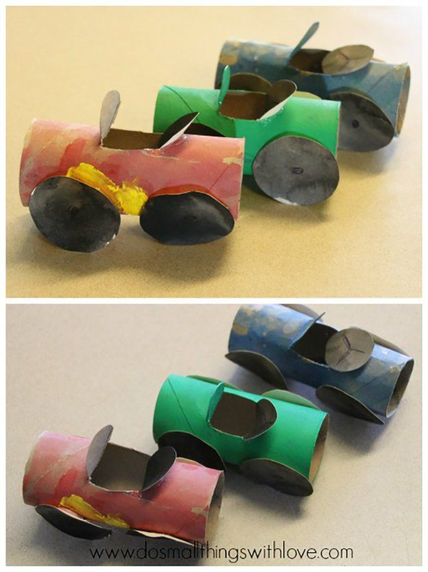 Toilet Paper Roll Cars | 15 Toilet Paper Roll Crafts For Kids