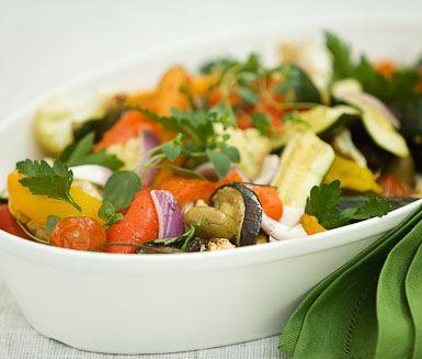 Ugnsrostade marinerade grönsaker