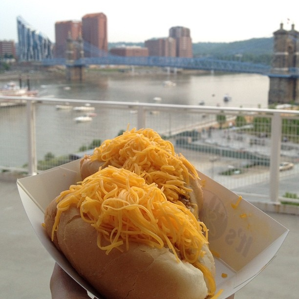 Skyline chili dogs always taste better with a Reds game on the other end!