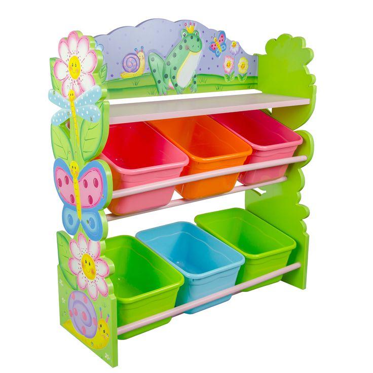 teamson fantasy fields magic garden hand crafted kids wooden toy organizer with storage bins