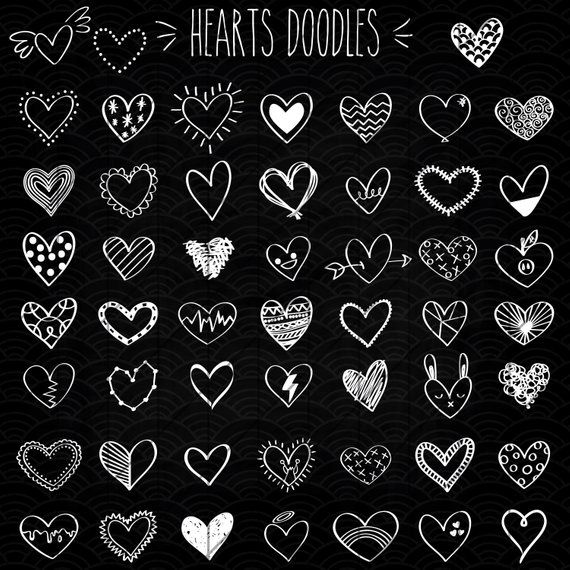 White Hearts Outline Clip Art Hand Drawn Romance Vector Doodles Scribble Heart Illustration Bundle Png Eps Pdf Svg Heart Doodle Heart Outline How To Draw Hands