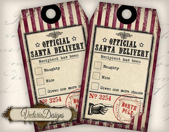 Christmas Tags Naughty Nice Tags printable gift tags digital Collage Sheet VD0565