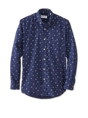 74% OFF Troy Shirtmakers Guild Men's Long Sleeve Button Down Patterned Shirt (Navy)