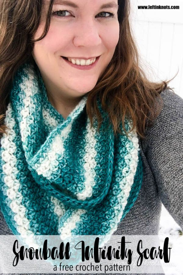 Crochet Snowball Infinity Scarf Free One Skein Scarfie Pattern Left In Knots Scarf Crochet Pattern One Skein Crochet Crochet Scarf