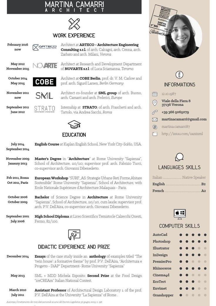 36 Best Architecture Cv Images On Pinterest Creative