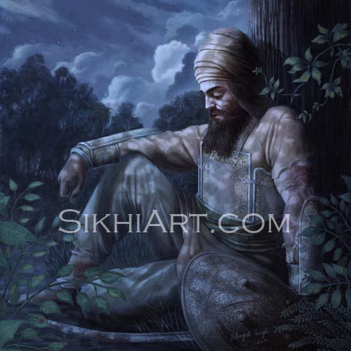 After losing all his sikhs and his young boys, Guru Gobind Singh ji rests in the jungles of Machhiwara, and meditates peacefully.