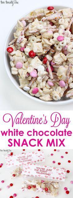Valentine's Day white chocolate snack mix + free printable!