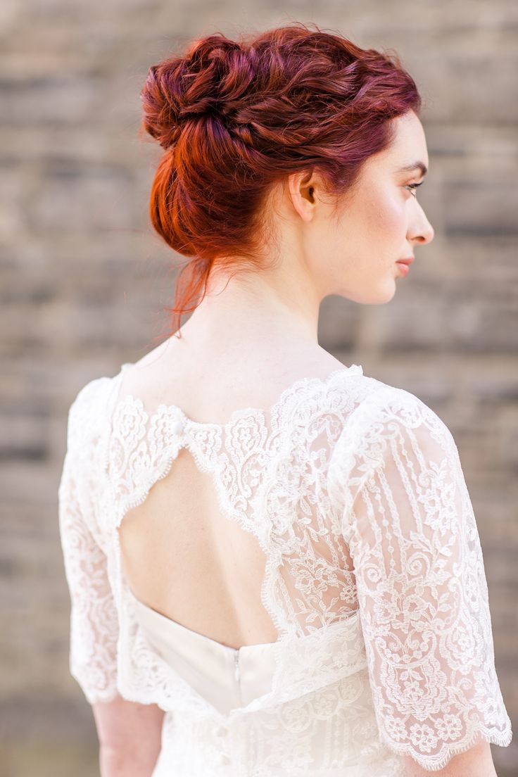 Two Piece Wedding dress, Lace Wedding Top, Red Wedding Hair Style