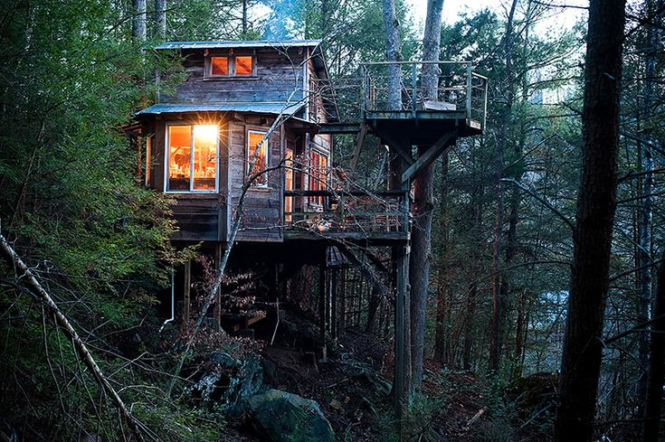 Asheville Treehouse. A permanently inhabited treehouse in the beautiful woods 200 yards above the Ivy river. Located in Asheville, North Carolina.