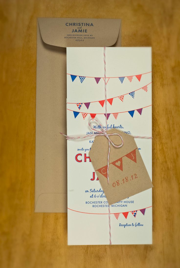 Love these colorful bunting wedding invitations.