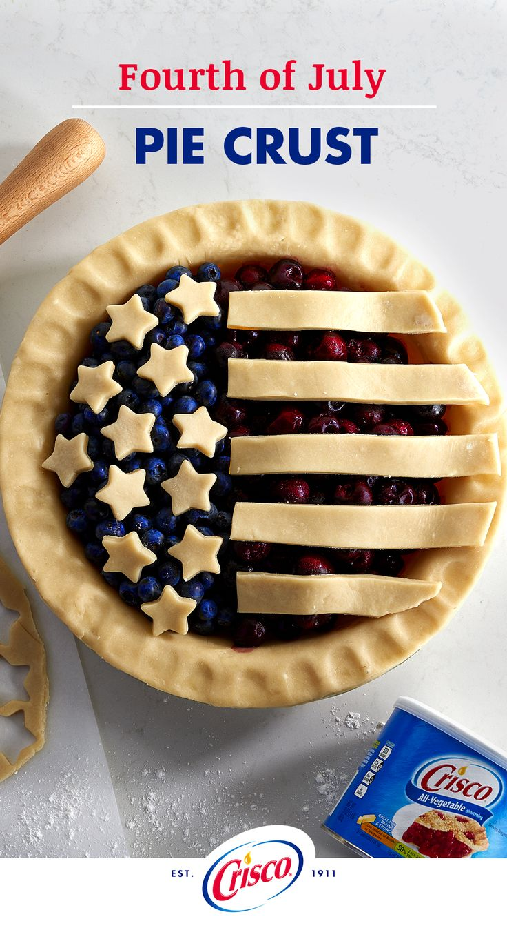 Celebrate Fourth of July with two classic All-American pies in one. Combine blueberry and cherry pie recipes for a delectable flavor and colorful spirit. Follow our Classic Pie Crust recipe made with our Crisco All-Vegetable Shortening for flaky, tender pie crust. Use cookie cutters to customize your pie crust with stars and stripes.