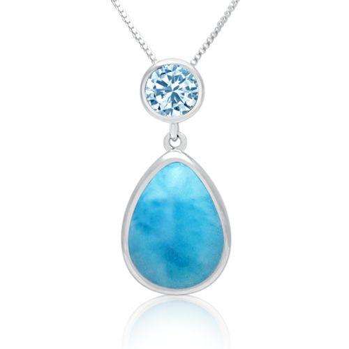 LAURA BONETTI ´Something Blue´ Larimar Teardrop Pendant with Blue Topaz. Find it ONLINE at http://larimar.com/