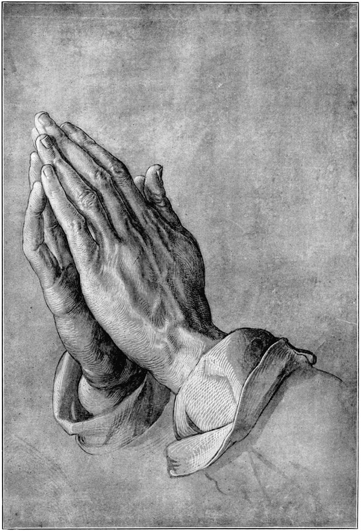 "Albrecht Durer - Praying Hands - the story behind the image - One day, long ago, to pay homage to Albert for all that he had sacrificed, Albrecht Durer painstakingly drew his brother's abused hands with palms together and thin fingers stretched skyward. He called his powerful drawing simply ""Hands,"" but the entire world almost immediately opened their hearts to his great masterpiece and renamed his tribute of love ""The Praying Hands."""