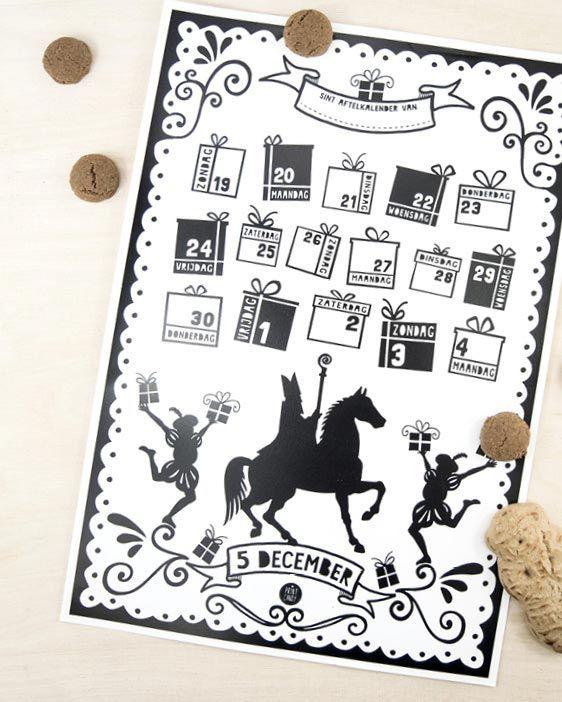 Sint Printable Aftelkalender 2017 - Gratis sinterklaas printables van Printcandy - 5 december knutselen - Sint en Piet - Sinterklaas schoenkalender 2017