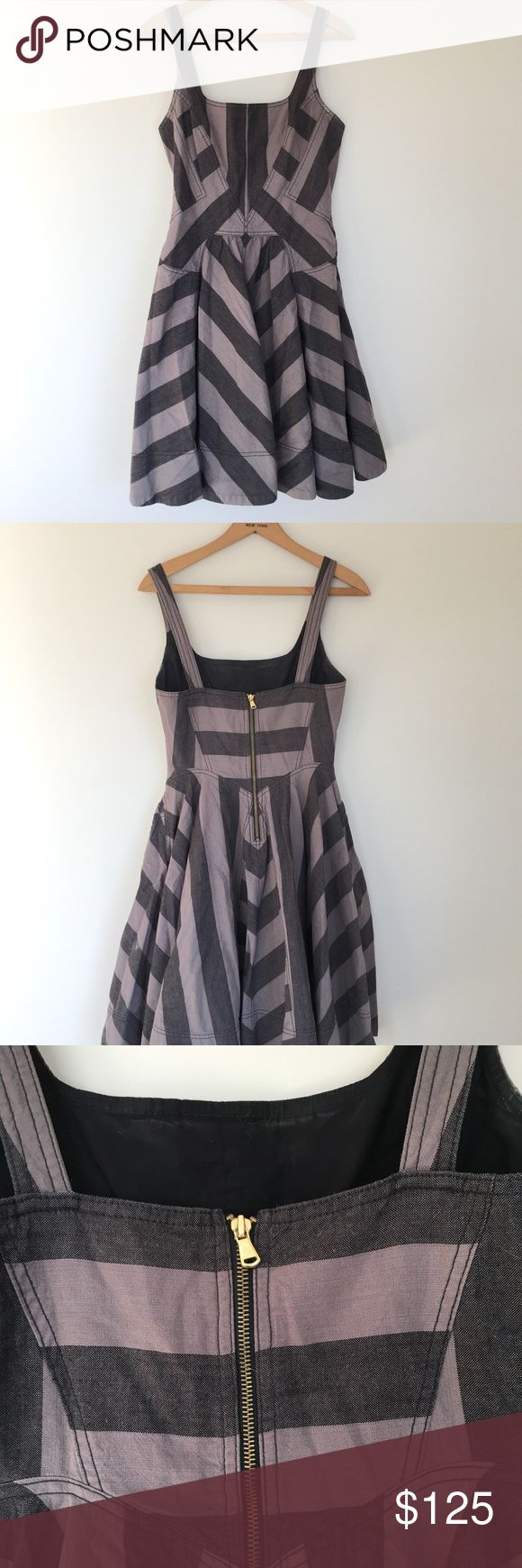 Marc by Marc Jacobs punk Denim dress Marc by Marc Jacobs  Grey and Black striped dress that defines the punks heart. Heavy weight material. Denim like.   Size 8 Length 35 inches Width 28 inches 100% cotton Status: Preloved no flaws Marc By Marc Jacobs Dresses Midi