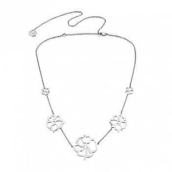 www.presentjakt.se: Ett vackert, långt halsband i sterlingsilver med fem rosor på rad i olika storlekar. Designat av Efva Attling.