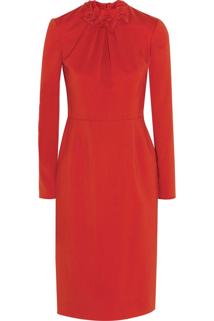 Valentino|Rose-detailed stretch-wool crepe dress|NET-A-PORTER.COM