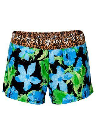 Bekijk nu:Vrolijk gedessineerde short met elastische band in luipaardprint en met een geïntegreerd broekje.