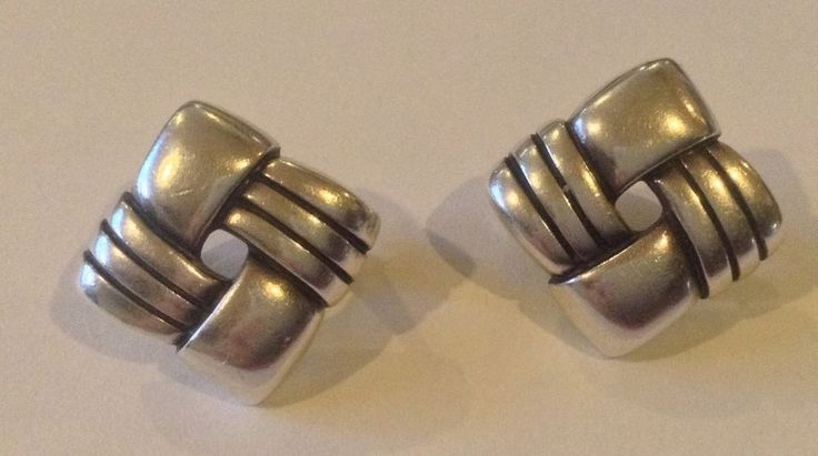 Retired James Avery Square Basket Weave French Clip Earrings Sterling 925  #JamesAvery