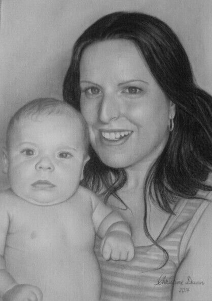 Mother and baby done in charcoal by Christine Dunn