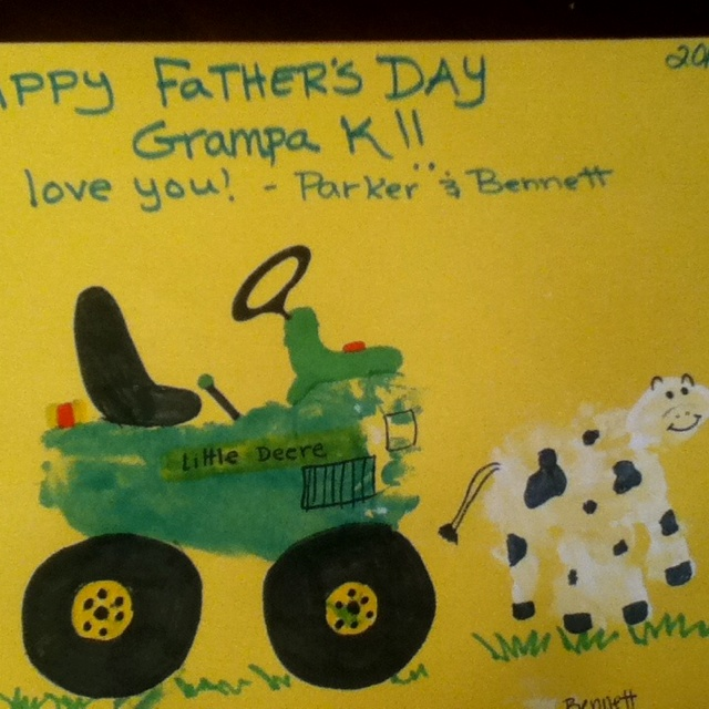 """Fathers day gift the boys """"made"""" for ny dad. Footprint tractor & handprint cow! Soo cute!!"""