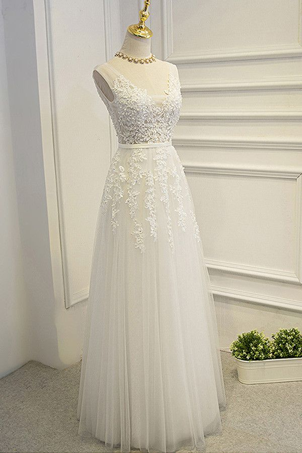 Simple A-line Lace Tulle V-Neck Wedding Dress,Appliques Open Back Cheap Wedding Dress OMW10