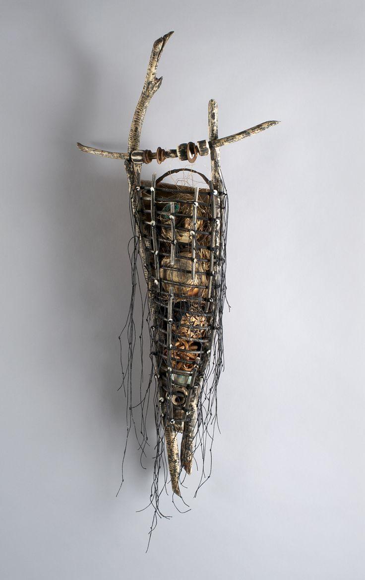 Talisman: Shannon Weber, Oregon woven, stitched, carved, sticks, paper, bones,kelp,encaustic,