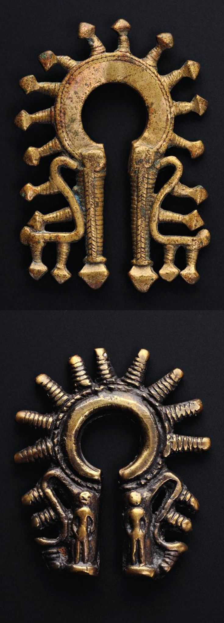 Indonesia ~ Batak Toba | Omega form earrings ~ 'duri-duri' | Brass (left), Bronze (right) | Usually worn as a single earring but sometimes in pairs, they are the only gold and silver jewellery made by the Batak Toba, who traditionally prefer copper alloys. ||| Source; Ethnic Jewellery from Indonesia: Continuity and Evolution. Bruce W Carpenter. Pg 64