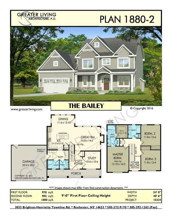 Plan 1880 2: THE BAILEY   House Plans   2 Story House Plan