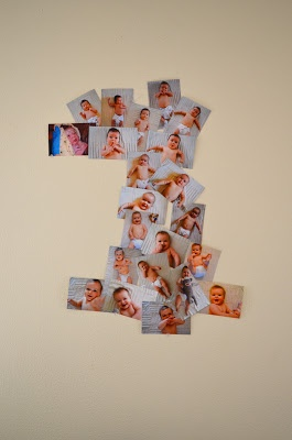 Hey Mama, Rock Me.: Arrange monthly pictures in the shape of a 1! Cute for a 1st birthday party!