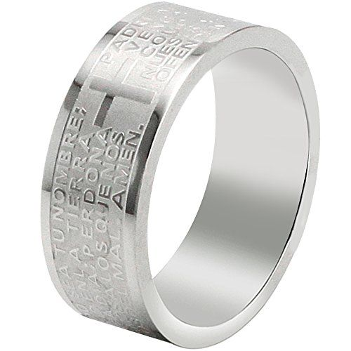 Men Jewelry - Men  Size 8  BOHG Jewelry Mens Womens Stainless Steel English Lords Prayer Cross Ring Couples Wedding Bands Silver >>> Click on the image for additional details.