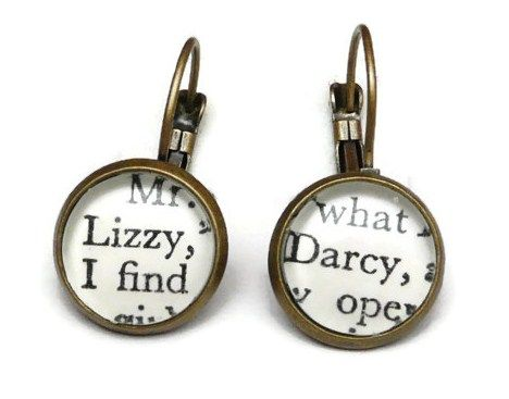 Mr Darcy & Lizzie Earrings, Pride And Prejudice Earrings, Jane Austen, Book Jewellery, Bronze Plated Drop EarringsTaking inspiration from Jane Austen's novel Pride and Prejudice which was first published in 1813. As the book's name suggests, this tale deals with issues in the 19th Century of social standing, morality, marriage and love through the main characters;- intelligent, spirited and quick witted Elizabeth Bennet and of course the dashing Mr Darcy. These small earrings have ...