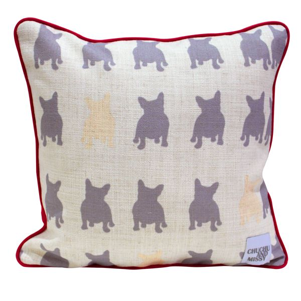 Pink and Grey Cushion Frenchie and Friends(http://www.ellaandsofia.com/pink-and-grey-cushion-frenchie-and-friends/) #ChuChuandMissy #KidsInteriors #KidsRooms #KidsDecor #MadeInAustralia #ProudlyMadeInOz