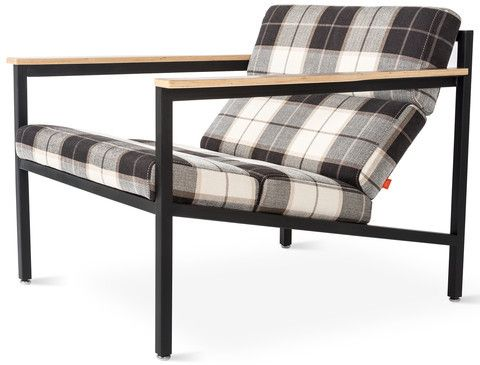 Beautiful Modern Lounge Chair With Plaid Upholstery