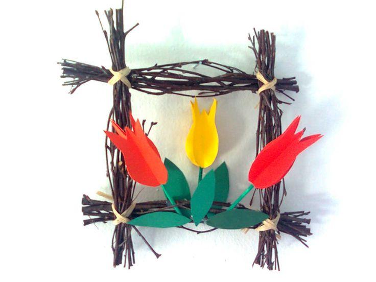 Jarní obrázek - jednoduchý rámeček z větviček