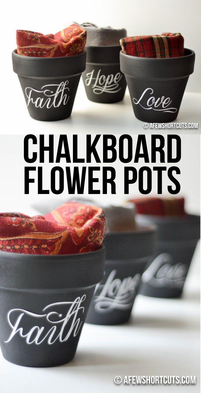 Beautiful fall decor! Checkout this simple and stylish Chalkboard Flower Pots Craft. Such an easy DIY that can even be made for gifts!