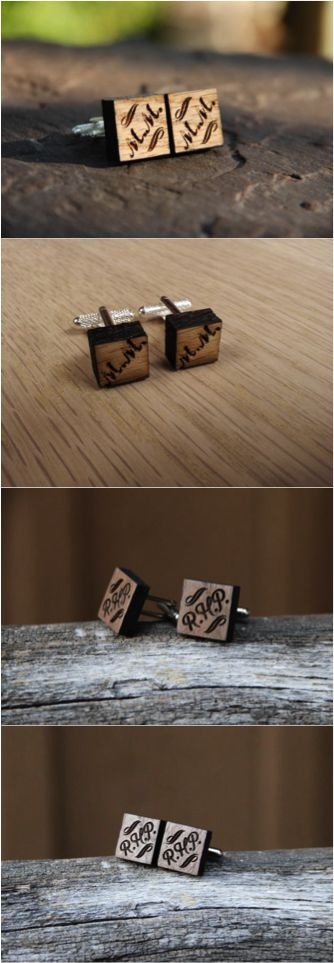 These rustic cufflinks are personalized with a monogram of your choice and are a perfect gift for that lovely gentleman in your life for a graduation, birthday, or anniversary. Makes a fantastic gift for groomsmen too! | Made on Hatch.co by independent designers and makers.